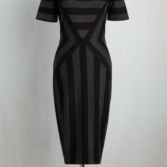 Modcloth grey and black striped midi dress